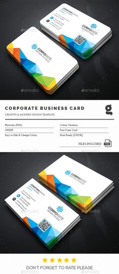 Corporate Business Card — Photoshop PSD #blue #flyer • Available here → https://graphicriver.net/item/corporate-business-card/15063904?ref=pxcr