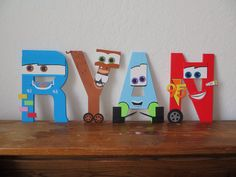 Wood Crafts, Fun Crafts, Arts And Crafts, Letter A Crafts, Letter Art, Wood Letters, Letters And Numbers, Cars Birthday Parties, 2nd Birthday