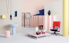 The Memphis Milano style popularized in the 1980s resembles something out of Picasso's childhood toy chest. Extreme versions feature abrasive primary color combinations on a variety of very basic geometric shapes. Bright colours and fun shapes