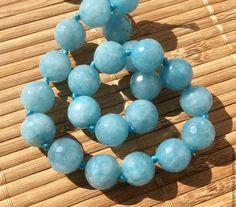 Кварц аквамариновый 10,12 мм шар огранка бусины камни для украшений. Handmade.