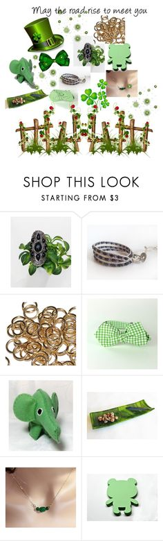 """""""Green for St. Patty's Day"""" by mroz-naps ❤ liked on Polyvore featuring jewelry, handmade, etsyfru and irishgifts"""