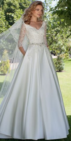 $183.89-Beautiful V-Neck Appliqued Satin A Line Wedding Dress with Sleeves. http://www.ucenterdress.com/a-line-v-neck-appliqued-3-4-sleeve-satin-wedding-dress-pMK_700174.html.  Free Custom-made & Free Shipping! Shop lace wedding dress, strapless wedding dress, backless wedding dress, with sleeves, mermaid wedding dress, plus size wedding dress, We have great 2016 best Wedding Dresses on sale at #UcenterDress.com today!