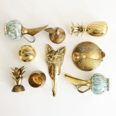 vintage and mid century brass collection - pineapple, pear, apple, fox, swan ✨