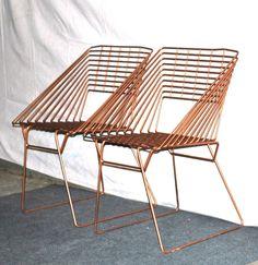 vintage Eames-era metal chairs - geometric square iron 1950s-60s mid century patio chairs. $875.00, via Etsy.