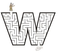 Letter w shaped maze from PrintActivities.com