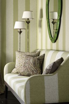 Shop the Nina Campbell collections direct from the world-renowned interior designer. Luxury fabrics, wallpapers, accessories, carpets & home fragrance. Green Striped Wallpaper, Striped Wallpaper Design, Wallpaper Designs, Nina Campbell Wallpaper, Georgian Interiors, Room Corner, Green Home Decor, Luxury Wallpaper, Shops