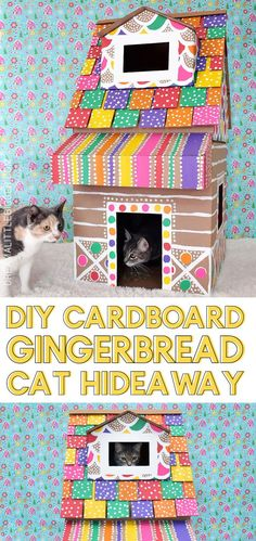 Cardboard Gingerbread Cat House - My cat LOVES hiding in boxes. I'm going to make her this gingerbread cat house. Cardboard Gingerbread House, Cardboard Cat House, Cardboard Box Crafts, Wooden Cat House, Cat House Diy, Cool Diy Projects, Craft Projects, Craft Ideas, Cat Castle