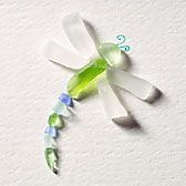 Beach glass dragonfly, would be great as a necklace or put on a diy concrete stepping stone.