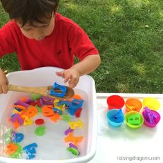 Alphabet Soup is a fun, sensory activity for toddlers and preschoolers who enjoy water play. Great for building fine motor skills and letter recognition! toddlers and preschoolers Alphabet Soup Toddler Sorting Activity * ages ⋆ Raising Dragons Toddlers And Preschoolers, Sensory Activities Toddlers, Sorting Activities, Preschool Learning Activities, Infant Activities, Teaching Kids, Children Activities, Sensory Play, Children Crafts
