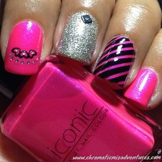 Instagram photo by @cmp381 (Claudia Paniza) | Iconosquare. Hot pink, black and silver nails. #nailart