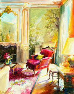 INTERIOR PAINTING. Art print, Original art work, painting of beautiful interior, red chair, French window