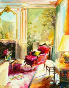 Interior painting of French room:by CECILIA ROSSLEE