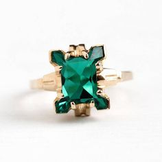 Vintage 10k Yellow Gold Simulated Emerald Ring Retro 1950s