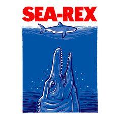 Jurassic World Mosasaurus t-shirt. The Sea Rex eats Jaws!