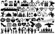 Wedding Icons Symbols Silhouette