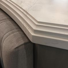 A signature edge profile in @caesarstoneus Calacatta Nuvo on the island at the @housebeautiful Kitchen of the Year fabricated by #constructionresources from Matthew Quinn (@matthewquinndesign)
