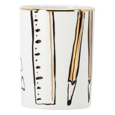 """Treat yourself to a desk refresh with this pencil cup from Kate Spade New York®'s Daisy Place collection. Beautifully crafted in white porcelain with playful, painterly illustrations and gold accents, it will surely add a touch whimsy and style to any home or office. 4.25"""" tall."""