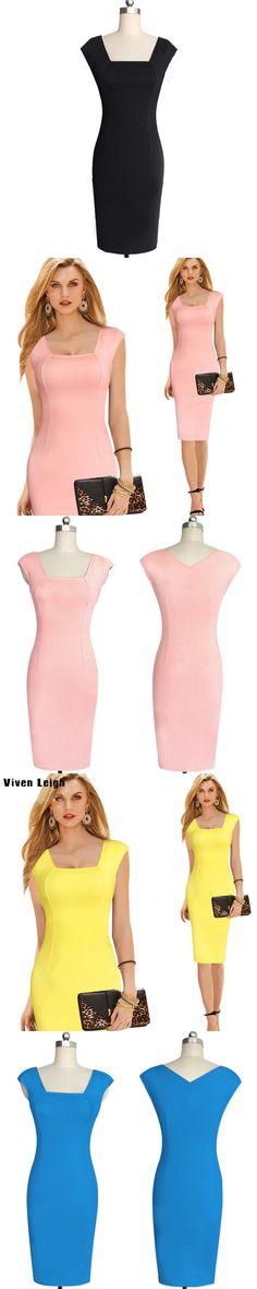 2017 Fashion Vintage Women Summer Solid Office Pink Dress Elegant OL Work Style Slim Sheath Square Collar Yellow Pencil Dresses
