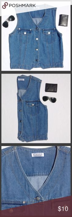 """Gallagher Vintage Button Down Denim Vest Large Gently owned with no rips, tears or stains.  -MEASUREMENTS- Length: 19"""" Waist: 22.5"""". Gallagher Jackets & Coats Vests"""