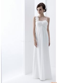 wedding dresses lace, Elegant Chiffon Spaghetti Straps Neckline Inverted Basque Waistline Sheath Wedding Dress With Beadings & Handmade Flowers DressilyMe UK Wedding Dresses Uk, Cheap Wedding Dress, Designer Wedding Dresses, Bridal Gowns, Reception Dresses, Unconventional Wedding Dress, Amazing Wedding Dress, Classic Wedding Dress, Ball Dresses