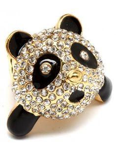 CRYSTAL PANDA LADIES FASHION STRETCH RING - Unusual Rings - Rings - Jewellery