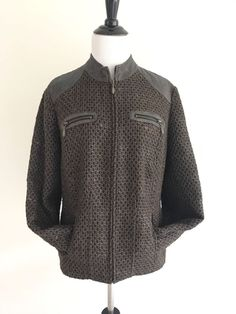 Chicos Jackets Size 1 Metallic Tweed Knit Zip Up Long Sleeves Brown Blazer  #Chicos #tweedjacket #savyshopp