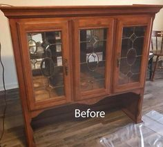 Hutch Top Flipped Upside Down Makeover. Flip a hutch top upside down. Construct a wood top and add feet for a unique cabinet. Refurbished Hutch, Repurposed China Cabinet, Repurposed Furniture, Reclaimed Furniture, China Hutch Makeover, Hutch Redo, China Cabinet Makeovers, China Cabinet Redo, Hutch Cabinet
