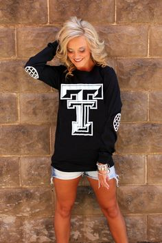 TEXAS TECH BLACK AND WHITE ELBOW PATCH TEE