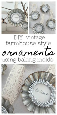Come and get inspired to make these DIY vintage farmhouse style baking tin ornaments to decorate your tree with as well as more Holiday Ornament inspiration Vintage Farmhouse, Diy Vintage, Vintage Crafts, Farmhouse Style, Vintage Decor, Vintage Stuff, Vintage Christmas Ornaments, Handmade Ornaments, Christmas Decorations