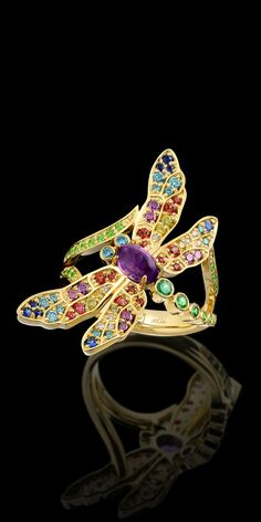 Ring 12224 Collection: World of insects  18K yellow gold, diamonds, blue diamonds, purple diamonds, yellow diamonds, blue sapphires, orange sapphires, amethyst, tsavority, demantoids.