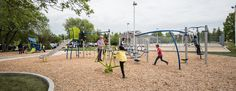 Heritage Victoria Community Centre, Winnipeg, MB.  Includes  A SmartPlay: Motion, PlayBooster System, Swings, Independents  Fibar surfacing