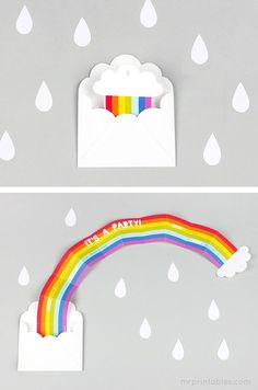 DIY Rainbow Party Invitation