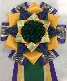 purple, deep gold & emerald w/ puff Ribbon Rosettes, Ribbons, Centaur, Garter, Homecoming, Photo Galleries, Emerald, Awards, Deep