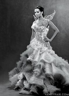 Jennifer Lawrence in Katniss Everdeen Couture for Hunger Games: Catching Fire shoot from Vanity Fair.