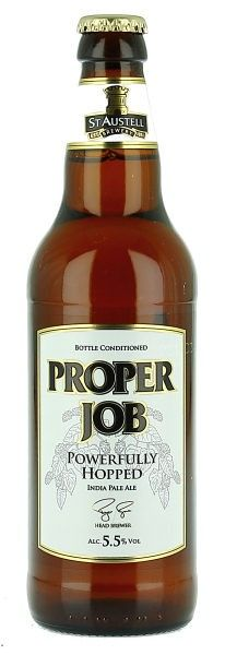Proper Job: an authentic IPA brewed with Cornish spring water and a blend of malts including Cornish Gold. First brewed in 2006 as a seasonal beer, Proper Job proved so popular that it is now a permanent part of the St Austell Brewery portfolio and its second best selling cask ale.