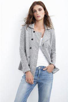 Afin Heather Grey Fleece Pea Jacket