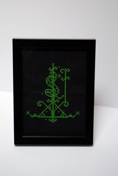 Ogoun Voodoo Veve Cross Stich Framed 4x6 by CasualFashionQueen, $25.99