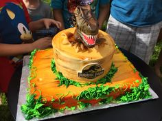 Jurassic Park Cake Boys Bday Cakes, Dinosaur Birthday Cakes, Dinosaur Cake, Dinosaur Party, Harry Birthday, Mickey Mouse 1st Birthday, 5th Birthday, Jurassic World Cake, Jurassic Park Party