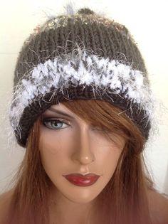 15% OFF STOREWIDE Month. Beanie Hat Hand Knit Designer Fashion Pearl Heart Hip Chic Snow  #HandKnits2Love #BeanieHatSlouch