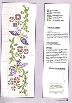 Discover thousands of images about Ponto Cruz da Drayzinha: Graficos - Flores e folhas Cross Stitch Boards, Cross Stitch Bookmarks, Mini Cross Stitch, Cross Stitching, Cross Stitch Embroidery, Embroidery Patterns, Butterfly Cross Stitch, Cross Stitch Flowers, Cross Stitch Designs