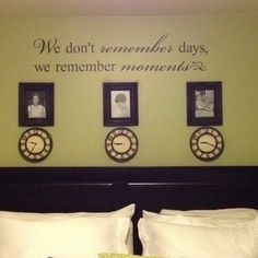 My wall above my bed with a clock stopped on the time my children were born.