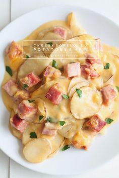 Thinly sliced potatoes and diced ham smothered in a creamy, super cheesy sauce and baked to perfection! Get the recipe at LoveGrowsWild.com Scalloped Potatoes And Ham, Scalloped Potato Recipes, Healthy Recipes, Pork Recipes, Cooking Recipes, Dairy Free Ham Recipes, Gammon Recipes, Cooking Tips, Healthy Food