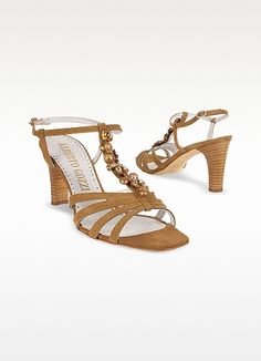 Alberto Gozzi Jeweled Tan Suede T-strap Sandal Shoes