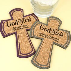 Personalized Cross Cork Coaster-Celebrate a baptism, communion, confirmation, or any blessed event with our Personalized Cross Cork Coasters! Choose from a selection of color options to perfectly coordinate with your special day! Each beautiful coast Christening Favors, Baptism Favors, Baby Shower Favors, First Communion Favors, First Holy Communion, Personalized Coasters, Cork Coasters, Special Day, Party Favors
