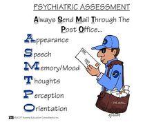 Nursing School: Psychosocial Mnemonics, good for a psych nurse Psych Nurse, Rn Nurse, Nurse Life, Nurse Humor, Nurse Stuff, Nursing Assessment, Nursing Mnemonics, Newborn Assessment, Mental Health Assessment