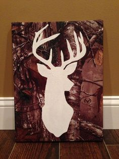 Hand painted deer head on real tree camo fabric by Justthewoods, $40.00