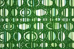 Flock Retro Wallpaper - 1970s Vintage Wallpaper - Green Flocked Geometric