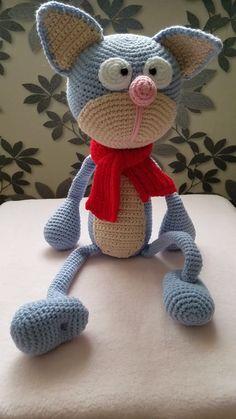 Knitted Cat, Cat Toy, Knitted Animals, K - Diy Crafts Knitted Cat, Knitted Animals, Crochet Bunny, Crochet Dolls, Stimulating Dog Toys, Crochet Dog Patterns, Stuffed Animal Cat, Stuffed Animals, Diy Crafts Crochet