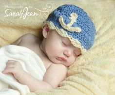 Baby Crochet Hat LIttle Sailor Anchor in Wool Bamboo by KingSoleil, $19.00