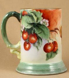 "Limoges Tankard ""Cherries Blossoms"" Jean Pouyat MARK5   eBay"